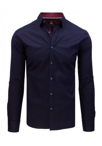 Pánská vzorovaná košile s dlouhým rukávem v tmavě modré barvě
