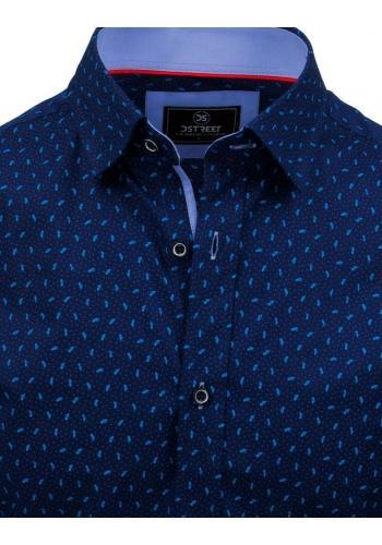 Vzorovaná pánská košile modré barvy s dlouhým rukávem