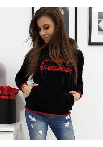 Černá teplá mikina s červeným nápisem pro dámy