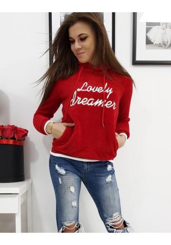Červená teplá mikina s bílým nápisem pro dámy