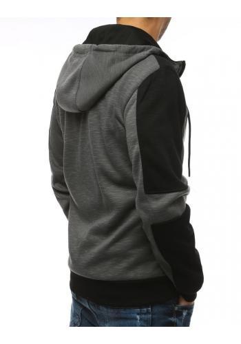 Sportovní pánská mikina tmavě šedé barvy s kapucí