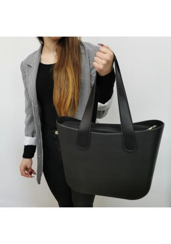 Dámská silikonová kabelka s velkými rukojeťmi v černé barvě