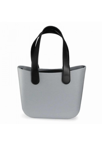 Šedá silikonová kabelka s velkými rukojeťmi pro dámy