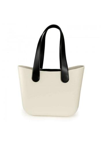 Silikonová dámská kabelka krémové barvy s velkými rukojeťmi