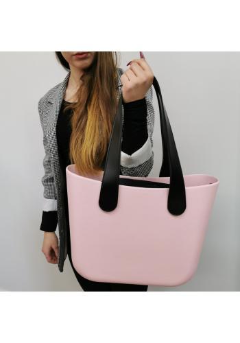 Dámská silikonová kabelka s velkými rukojeťmi v růžové barvě