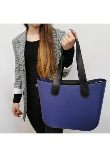 Tmavě modrá silikonová kabelka s velkými rukojeťmi pro dámy