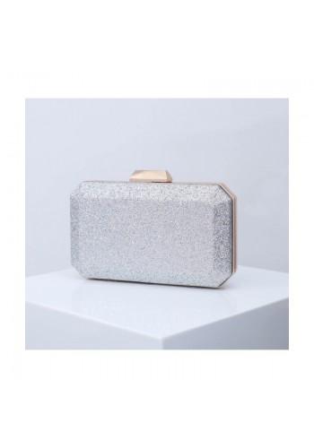 Dámská brokátová kabelka ve stříbrné barvě