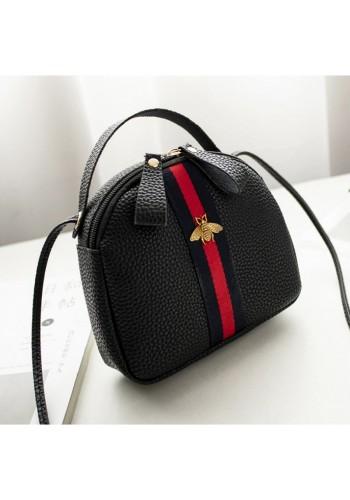 Dámská mini kabelka s kontrastním pásem v černé barvě
