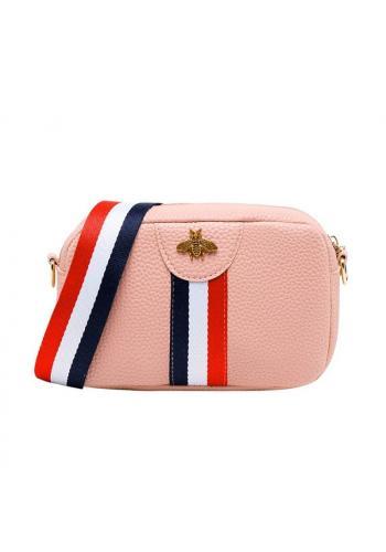 Mini dámská kabelka růžové barvy s kontrastním pásem