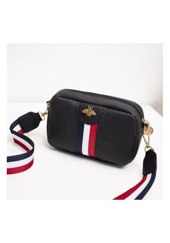 Černá mini kabelka s kontrastním pásem pro dámy