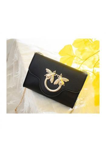 Mini dámská kabelka černé barvy se zlatou ozdobou