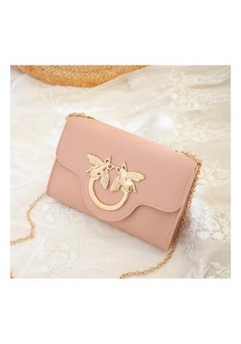 Růžová mini kabelka se zlatou ozdobou pro dámy