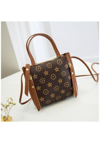 Dámská módní kabelka se vzorem v hnědé barvě