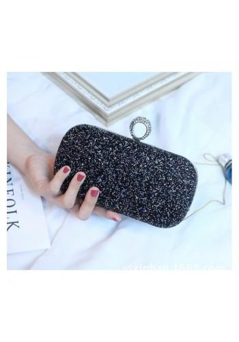 Společenská dámská kabelka černé barvy s brokátem