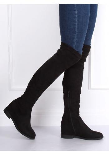 Černé semišové kozačky nad kolena na skrytém podpatku pro dámy