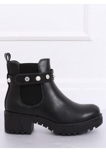 Černé módní boty s hrubou podrážkou pro dámy