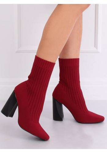 Ponožkové dámské kozačky bordové barvy na podpatku