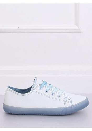 Dámské plátěné tenisky s ombre šňůrkami v bílo-modré barvě