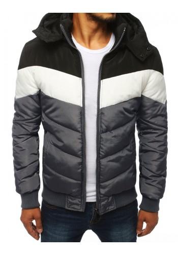 Pánská zimní bunda s odepínací kapucí v šedé barvě