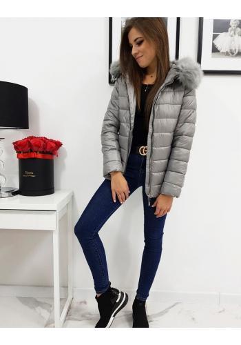 Prošívaná dámská bunda tmavě šedé barvy na zimu ve slevě