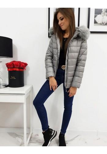 Prošívaná dámská bunda tmavě šedé barvy na zimu