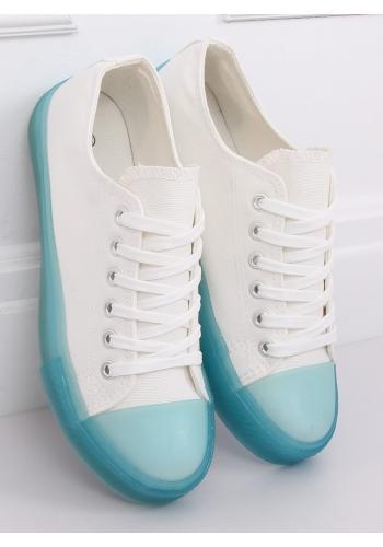 Plátěné dámské tenisky bílo-modré barvy s barevnou podrážkou