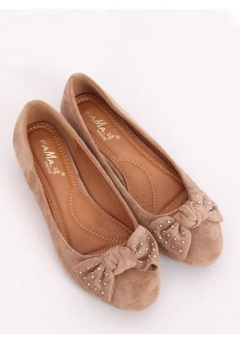 Béžové semišové balerínky se skrytým podpatkem pro dámy