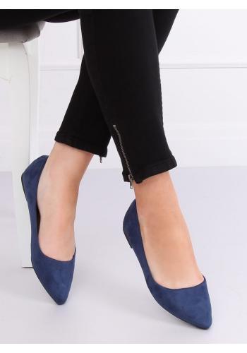 Elegantní dámské balerínky tmavě modré barvy s jemným špicem