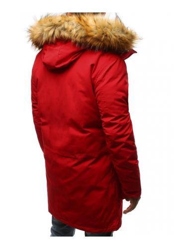Pánská zimní Parka s kapucí v červené barvě