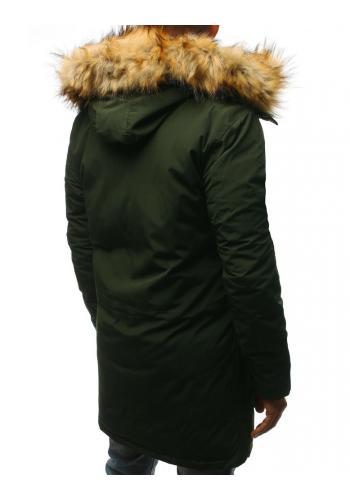 Zimní pánská Parka zelené barvy s kapucí