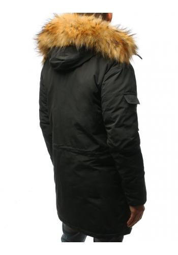 Pánské zimní bundy s kapucí v tmavě šedé barvě