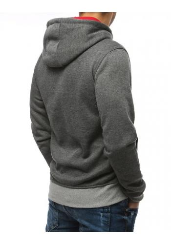 Tmavě šedá módní mikina s potiskem pro pány