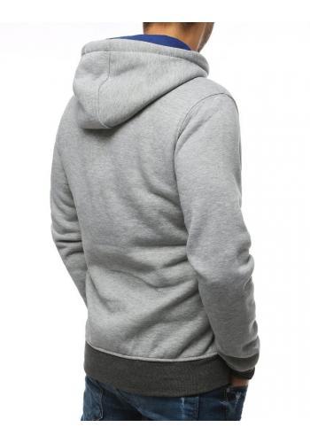 Módní pánská mikina světle šedé barvy s potiskem