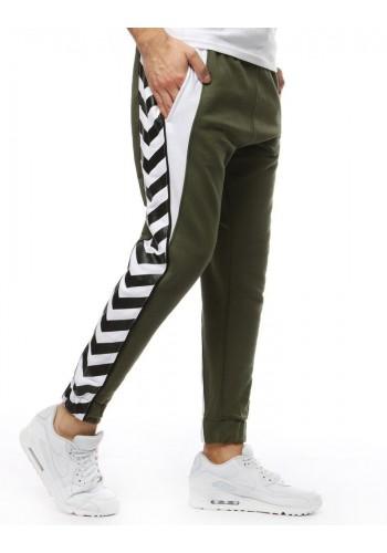 Pánské módní tepláky s potiskem na bocích v kaki barvě