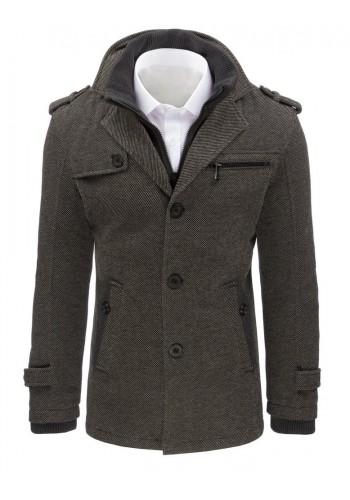 Módní pánský kabát šedé barvy se zateplenou podšívkou