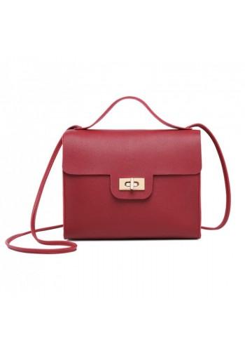 Mini dámská kabelka červené barvy z ekokůže