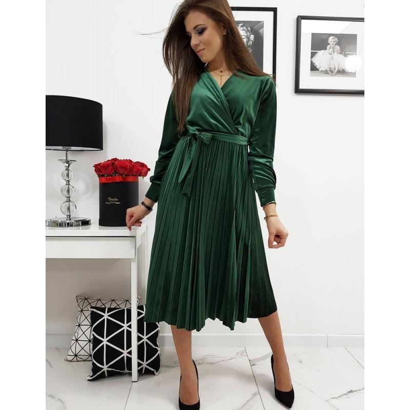 Zelené plisované šaty s vázáním v pase pro dámy