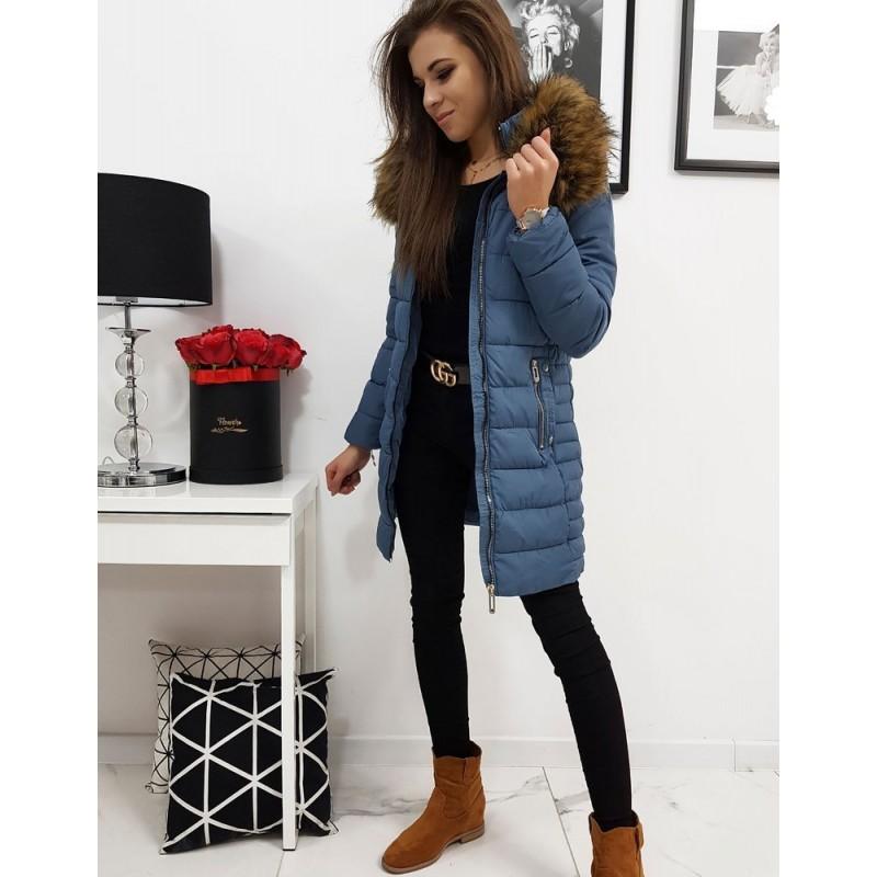 Prošívaná dámská bunda modré barvy na zimu