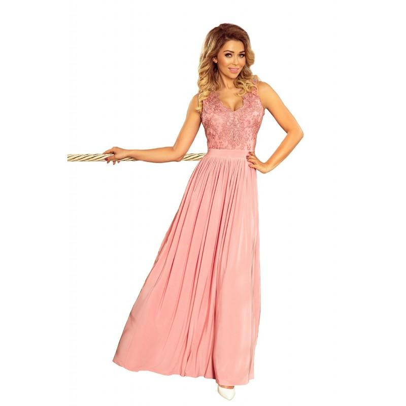 Šedé dlouhé šaty s vyšívaným výstřihem pro dámy
