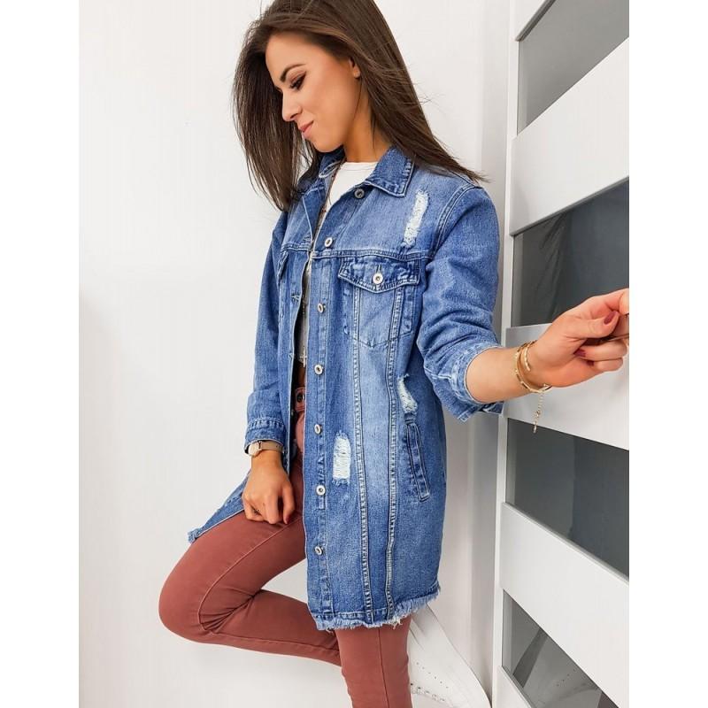Dlouhá riflová dámská bunda modré barvy