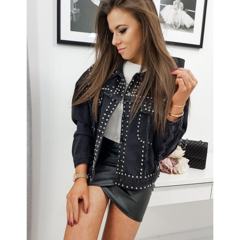 Dámská oversize riflová bunda s vybíjením v černé barvě