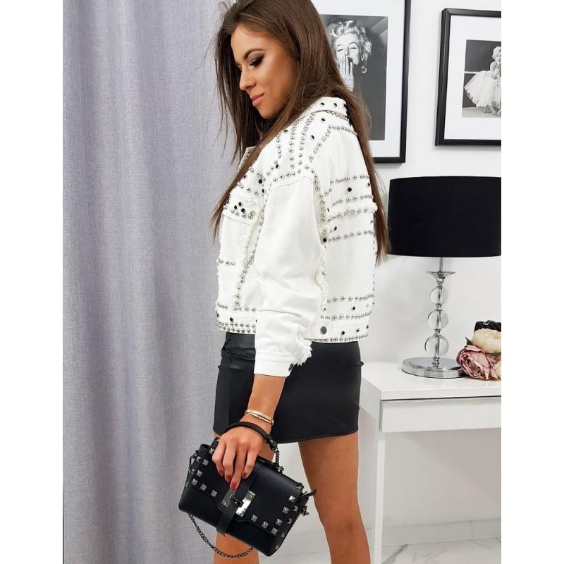 Bílá oversize riflová bunda s vybíjením pro dámy
