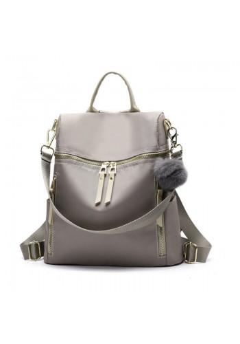 Šedý elegantní batoh se zlatým zapínáním pro dámy