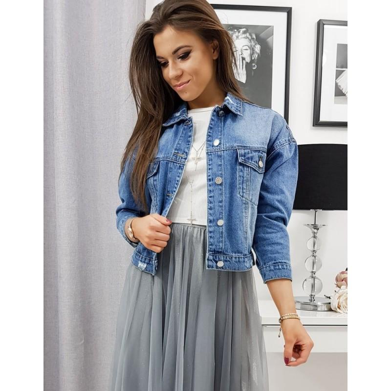 Volná riflová dámská bunda modré barvy