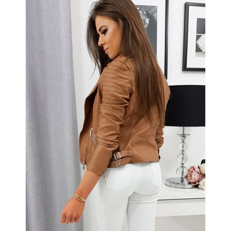 Hnědá kožená bunda na přechodné období pro dámy