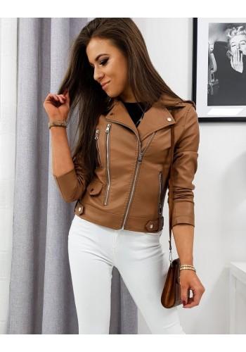 Kožená dámská bunda hnědé barvy na přechodné období