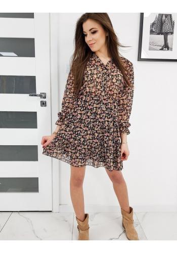 Černé květované šaty na jaro pro dámy