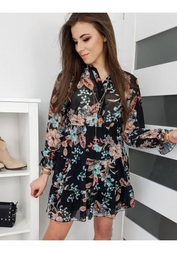 Dámské květované šaty na jaro v černé barvě