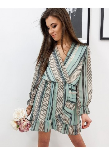 Vzorované dámské šaty mátové barvy s volánem