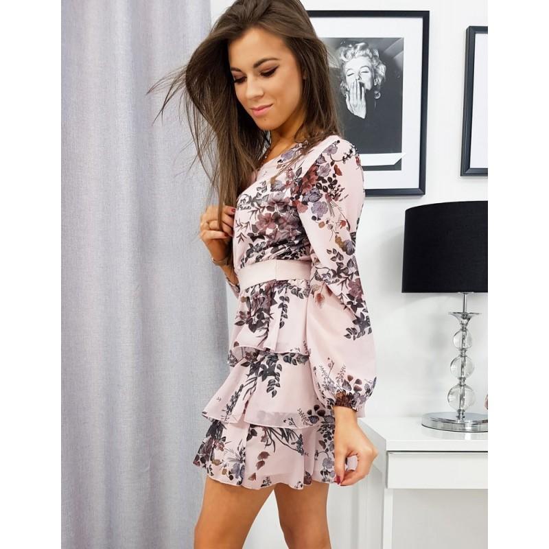 Růžové květované šaty s volány pro dámy